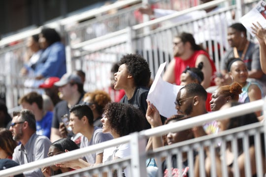 Fans watch Austin Peay compete in its annual Red-White spring game Saturday, April 6, 2019.