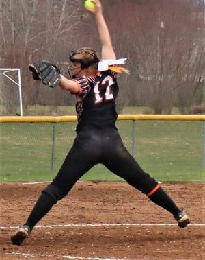 Ridgewood's Sydney Zinkon throws a pitch in Friday's 10-8 loss to Tusky Valley.