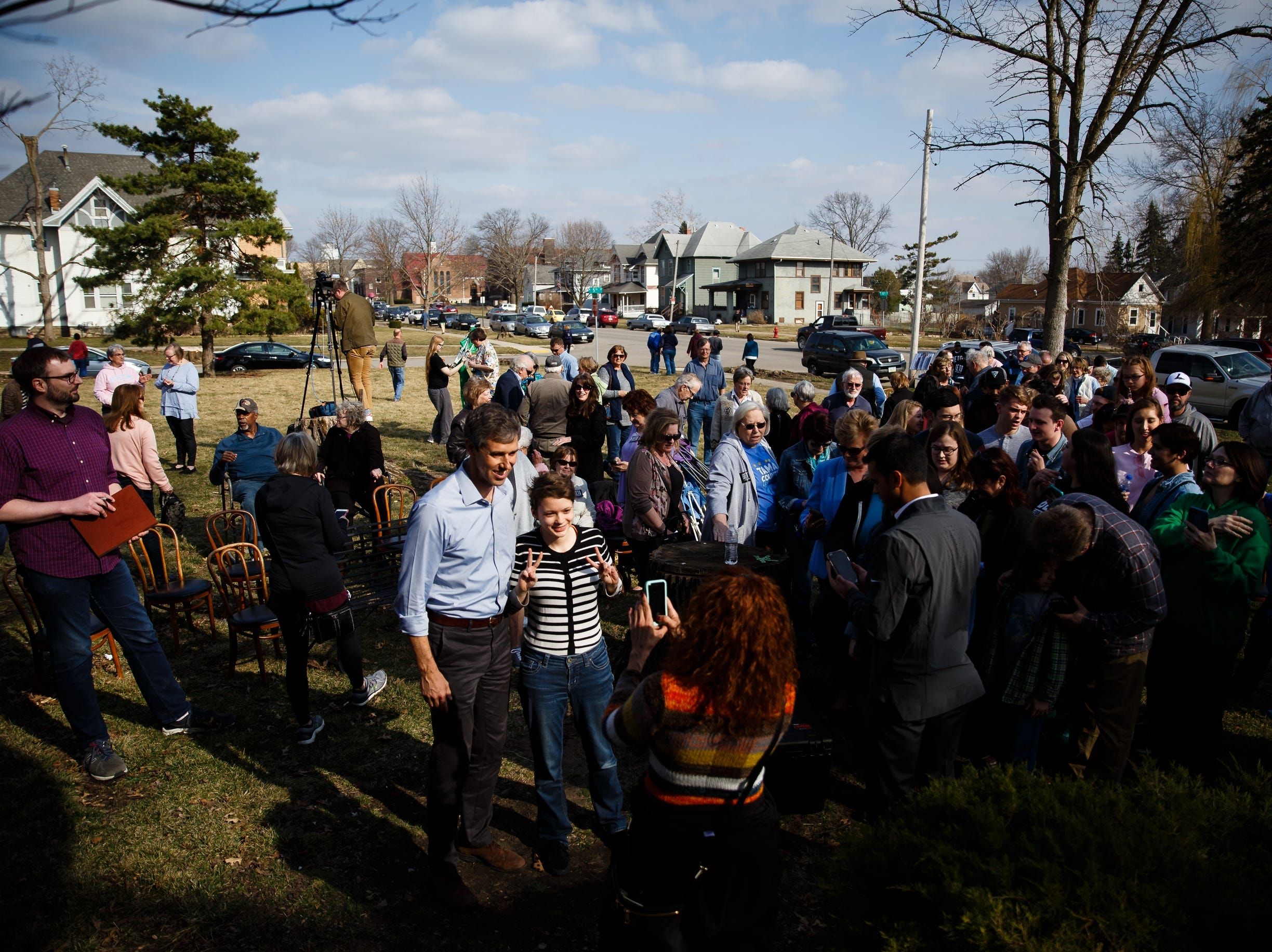 2020 Democratic presidential candidate and former Texas Representative Beto O'Rourke takes photos with people after speaking in Marshalltown during a swing though Iowa on Friday, April 5, 2019, in Marshalltown.