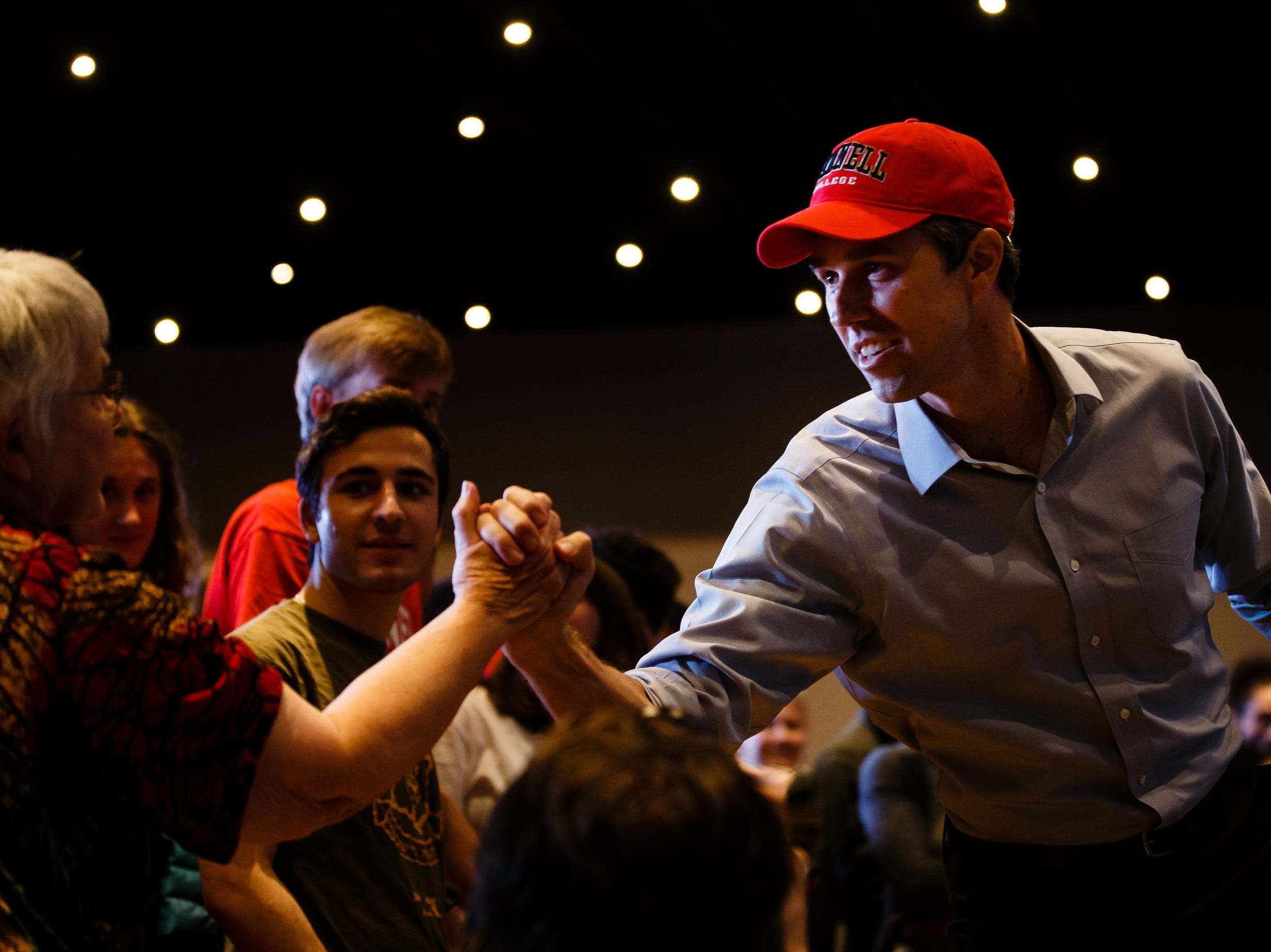 2020 Democratic presidential candidate and former Texas Representative Beto O'Rourke greets the crowd at Hotel Grinnell during a swing though Iowa on Friday, April 5, 2019, in Grinnell.