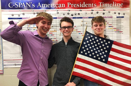 """Urbandale High School students Matthew Moran, Jacob Sammon and Riley Vander received a first-place award  in C-SPAN's 2019 StudentCam competition for their documentary, """"Fighting for a Better Tomorrow."""""""