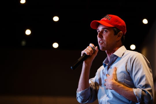 2020 Democratic presidential candidate and former Texas Representative Beto O'Rourke address the crowd at Hotel Grinnell during a swing though Iowa on Friday, April 5, 2019, in Grinnell.