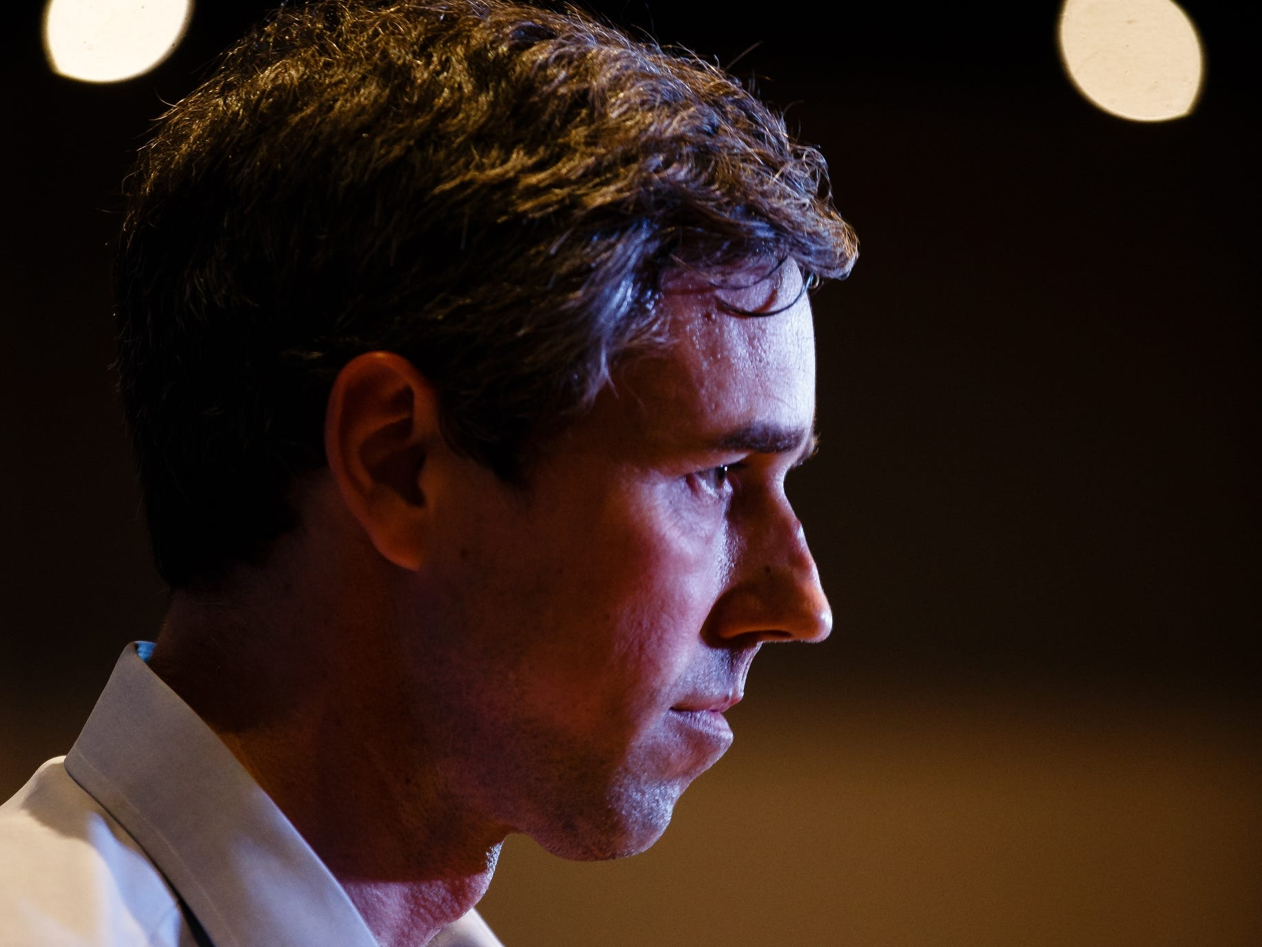 2020 Democratic presidential candidate and former Texas Representative Beto O'Rourke listens to a question from the audience at Hotel Grinnell during a swing though Iowa on Friday, April 5, 2019, in Grinnell.