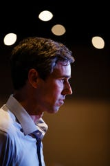 Former U.S. Rep. Beto O'Rourke, a 2020 Democratic presidential candidate, listens to a question from the audience at Hotel Grinnell during a swing though Iowa on Friday, April 5, 2019, in Grinnell.