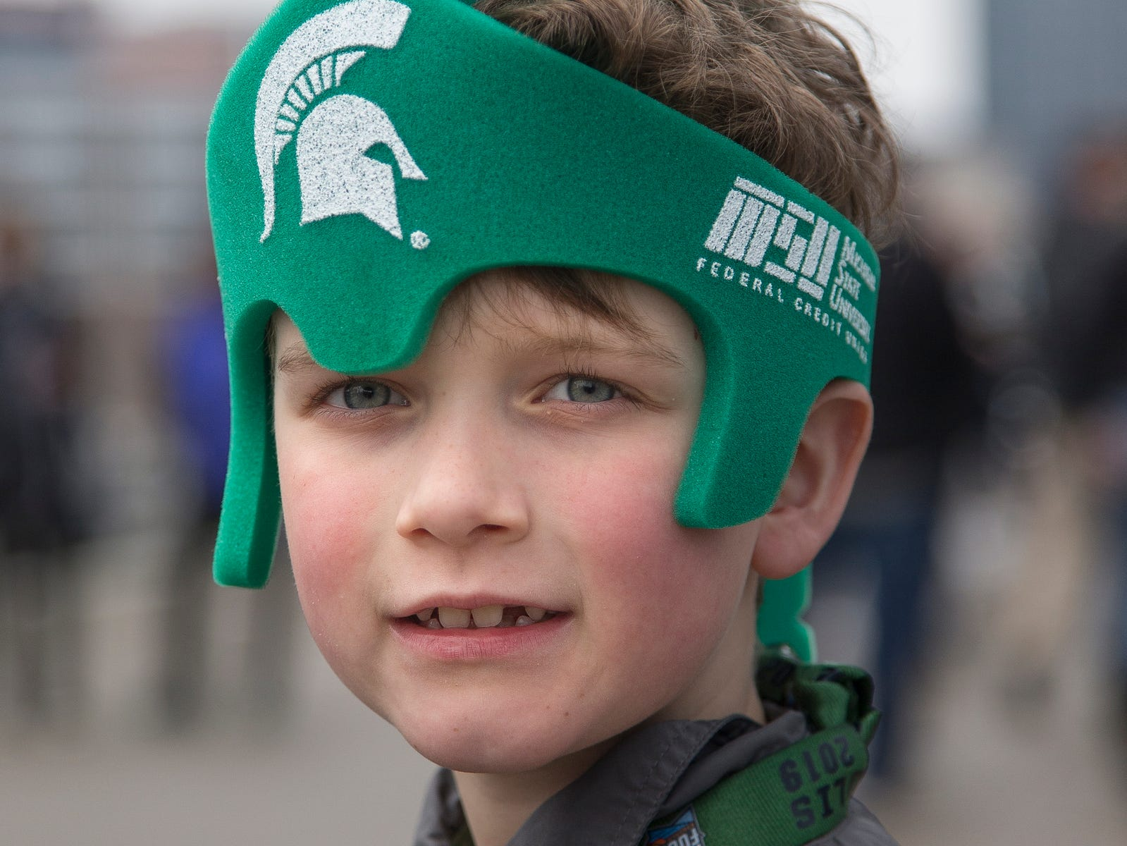 Liam Wellard, 8, of Grand Haven, poses for a photo before the Final Four against Texas Tech at the U.S. Bank Stadium in Minneapolis, Saturday, April 6, 2019. Liam's father Scott Wellard is a Michigan State alumnus.