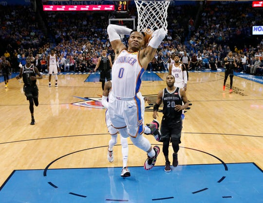 Oklahoma City Thunder guard Russell Westbrook (0) goes up for a dunk in front of Detroit Pistons guard Wayne Ellington (20) during the first half of an NBA basketball game Friday, April 5, 2019, in Oklahoma City.