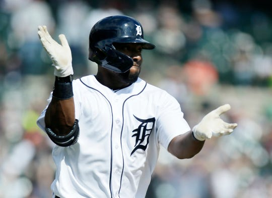 Tigers left fielder Christin Stewart reacts after hitting a grand slam during the seventh inning of the Tigers' 7-3 win on Saturday, April 6, 2019, at Comerica Park.