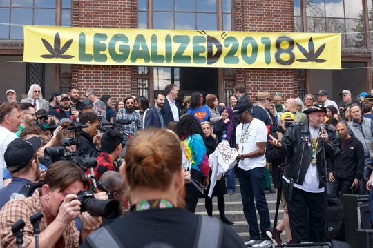 The University of Michigan's Diag filled with attendees, activists, politicians, and professors during the 48th annual Hash Bash on Saturday, April 6, 2019 in Ann Arbor.