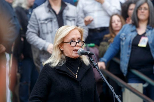 U.S. Congresswoman Debbie Dingell speaks during the 48th annual Hash Bash on Saturday, April 6, 2019 at U-M's Diag in Ann Arbor.