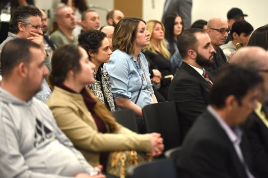A large crowd gathered during a meeting concerning the Iraqi deportations at the Chaldean Community Center on Saturday, April 6, 2019.