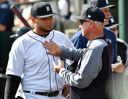 Tigers pitching coach Rick Anderson, right, talks with Joe Jimenez earlier this season.
