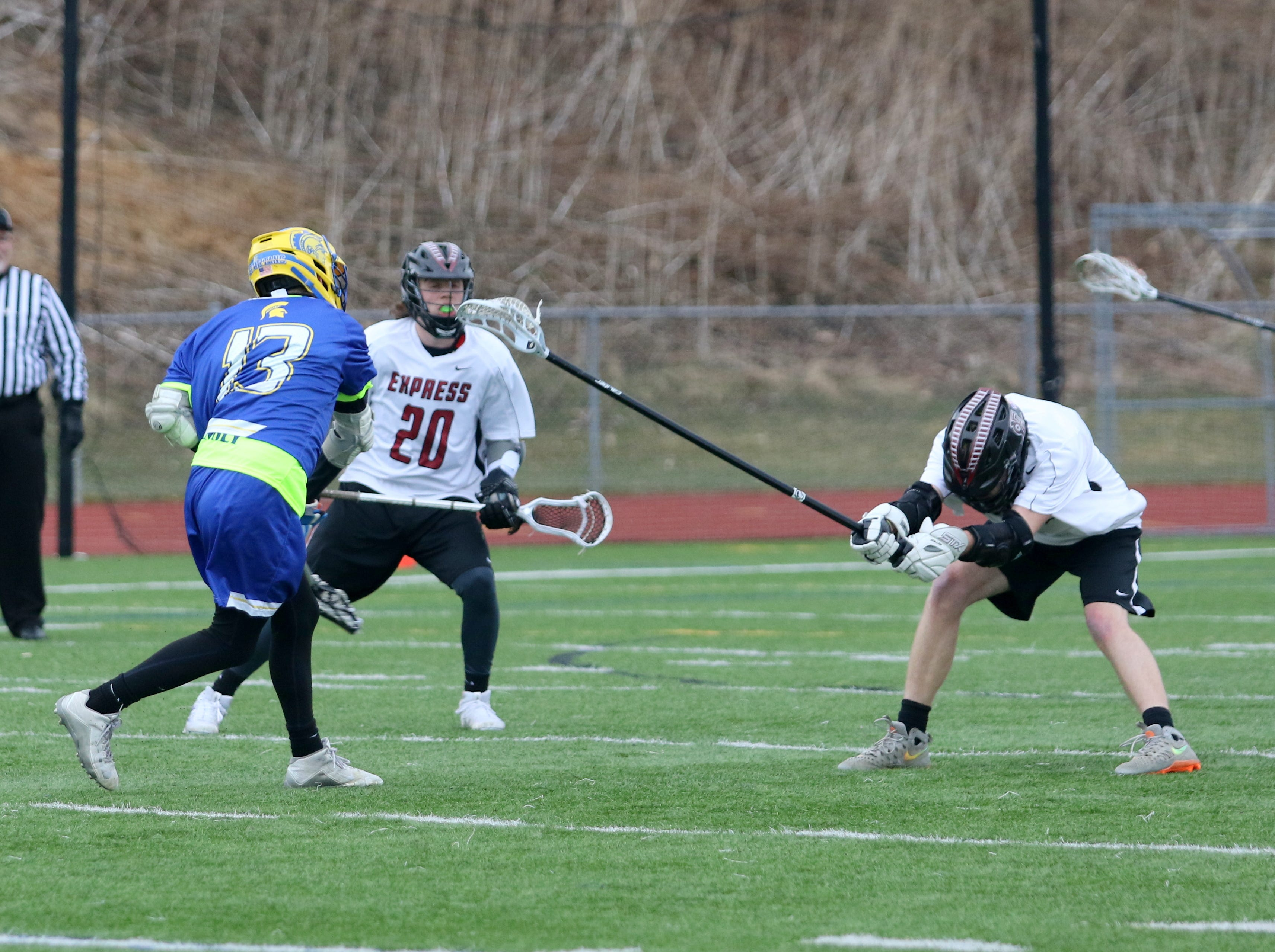 Action from Elmira's 13-4 win over Maine-Endwell in boys lacrosse April 5, 2019 at Ernie Davis Academy.