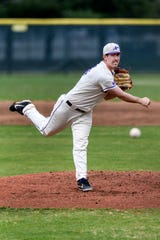 University of Evansville's Adam Lukas (36) pitches during a game against the Dallas Baptist University Patriots at Charles H. Braun Stadium in Evansville, Ind., Friday, April 5, 2019. The Purple Aces defeated the Patriots, 8-3, in the first of a three-game home series.