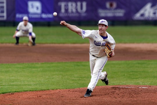 University of Evansville's Adam Lukas pitches during a game against Dallas Baptist at Braun Stadium in Evansville on April 5. The Aces defeated the Patriots, 8-3.