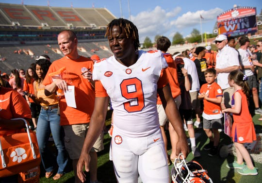 Clemson running back Travis Etienne (9) walks off the field after the Spring Game at Memorial Stadium Saturday, April 6, 2019.