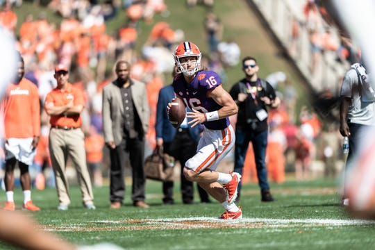 Clemson quarterback Trevor Lawrence (16) looks to make a pass during the Spring Game at Memorial Stadium Saturday, April 6, 2019.