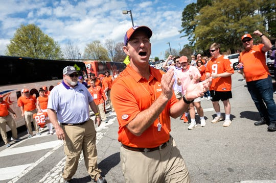 Clemson head coach Dabo Swinney at the Tiger Walk before the Spring Game at Memorial Stadium Saturday, April 6, 2019.