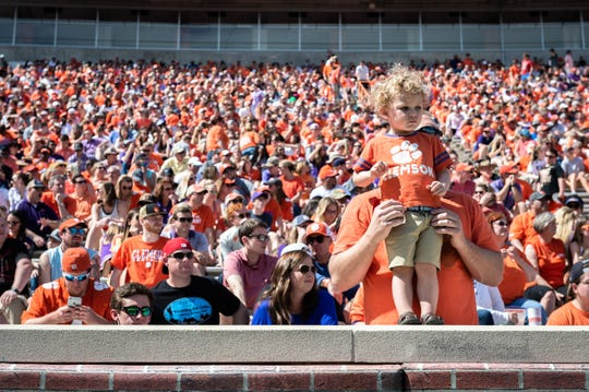 Clemson white and orange teams competed in their annual Spring Game at Memorial Stadium Saturday, April 6, 2019.