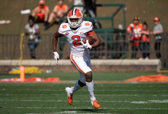 Clemson wide receiver Frank Ladson Jr. (2) runs the ball during the spring game at Memorial Stadium Saturday, April 6, 2019.