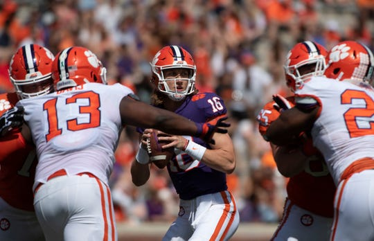 Clemson quarterback Trevor Lawrence (16) looks to pass the ball during the spring game at Memorial Stadium Saturday, April 6, 2019.