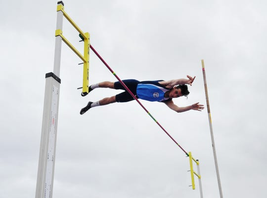 "Great Falls High's D'Angelo Haney attempts 11'6"" in the pole vault during Friday's track meet against Glacier."