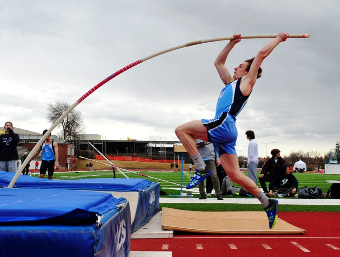 Great Falls High's Tyler Skinner competes in the pole vault during Friday's track meet against Glacier.