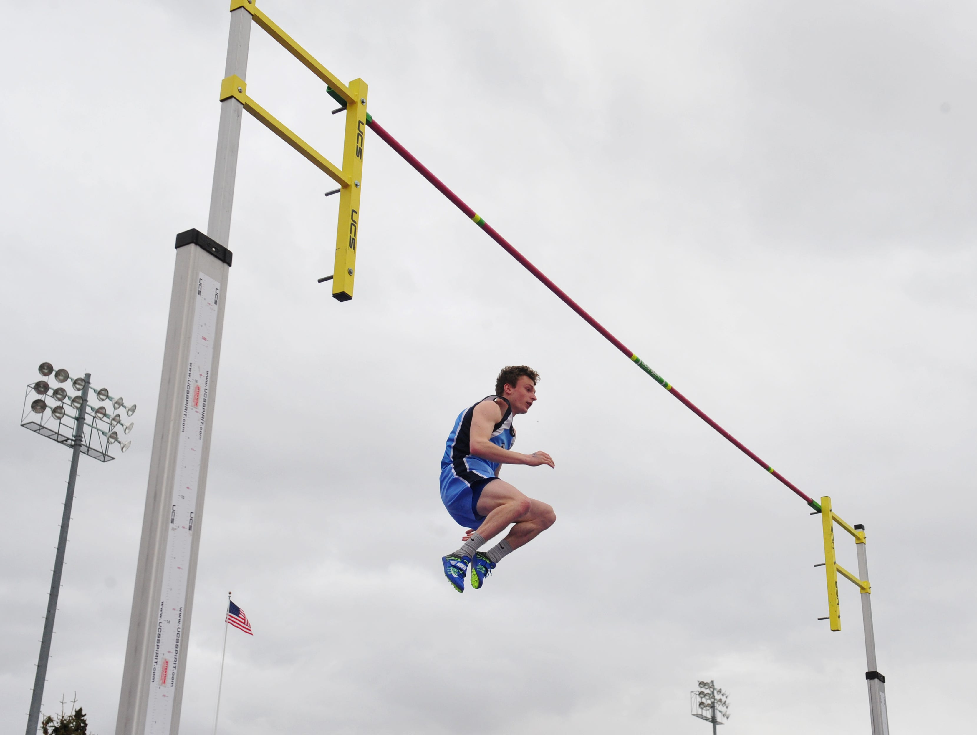 Great Falls High's Tyler Skinner clears 12 feet in the pole vault during Friday's track meet against Glacier.