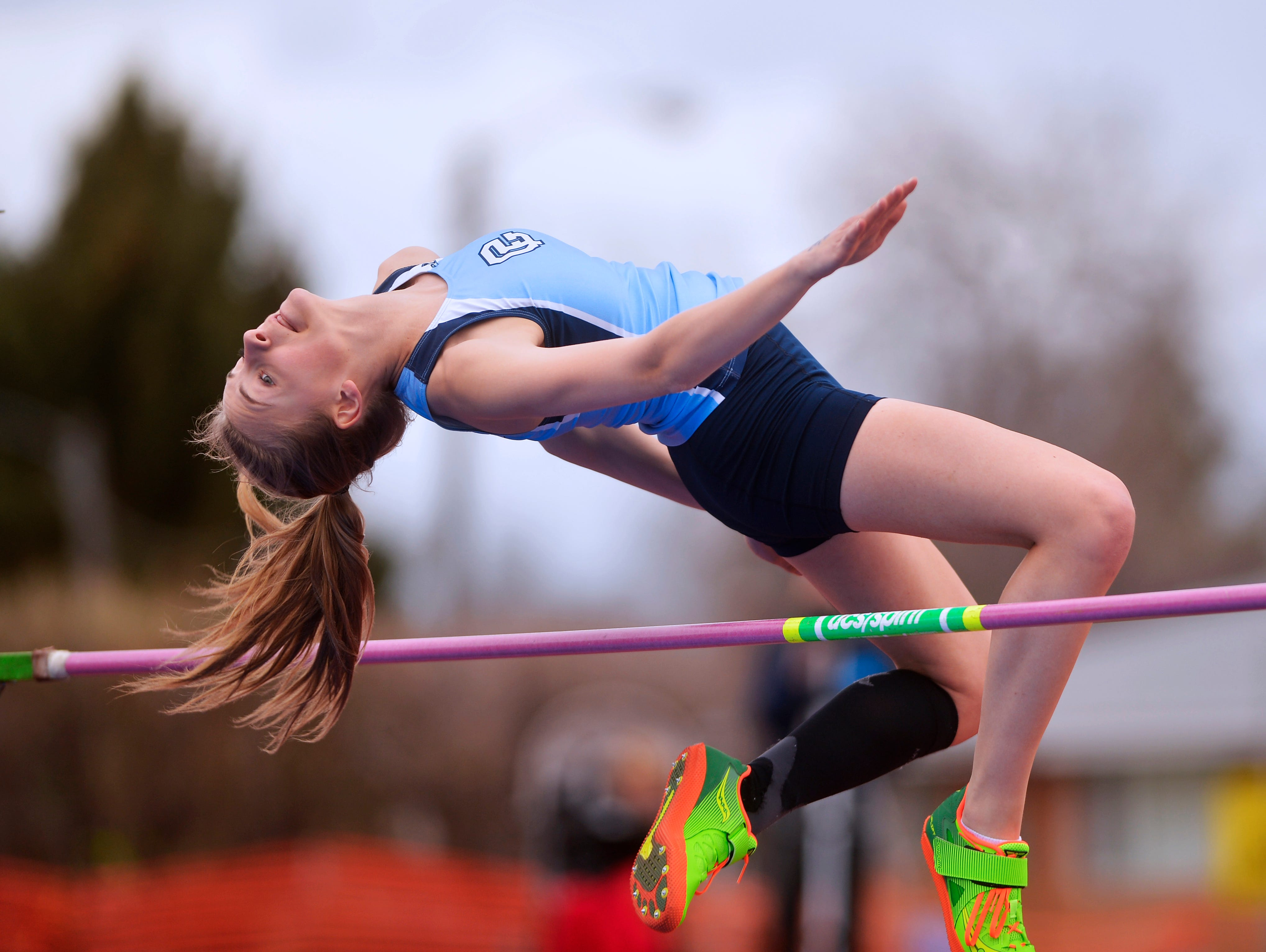 Great Falls High's Sam Schlimm competes in the high jump during Friday's track meet against Glacier High.