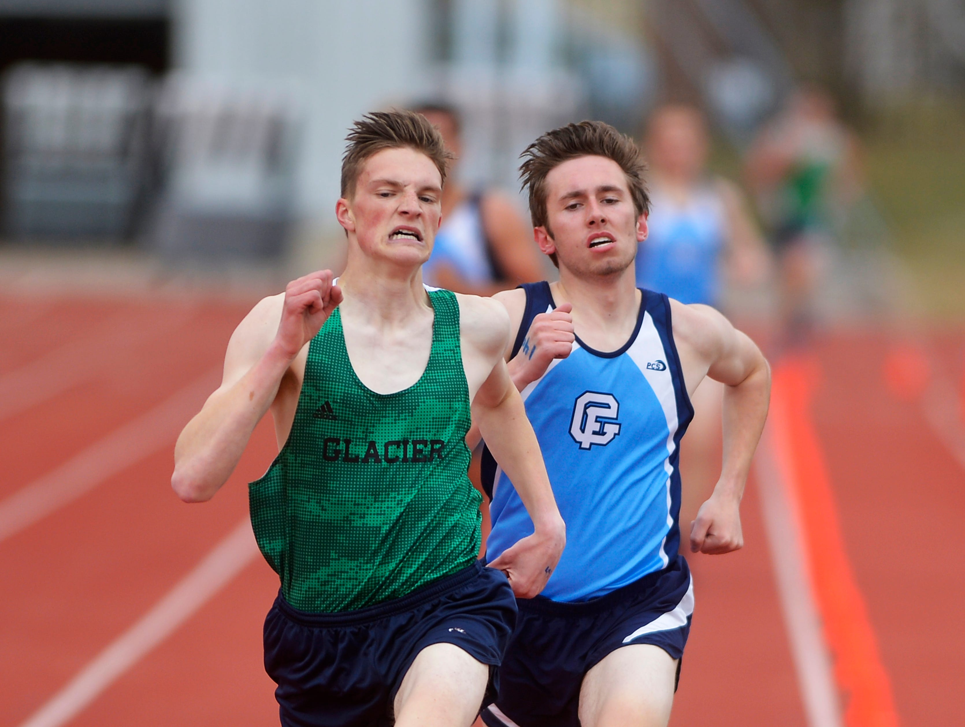 The boys 1600m run during Friday's track meet between Great Falls High and Glacier.