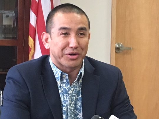 Attorney General Leevin Camacho speaks during a press conference April 5 in a conference room at the ITC building in Tamuning. Camacho said the new marijuana law allows adults to smoke marijuana at home, but other issues are unclear at this time.