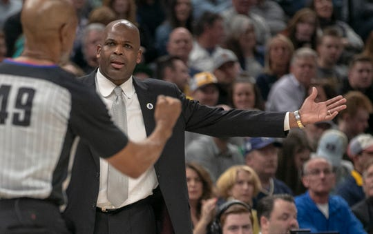 Nate McMillan, head coach of Indiana, argues a call, Boston at Indiana, Bankers Life Fieldhouse, Indianapolis, Friday, April 5, 2019.
