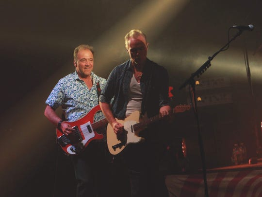 Guy Pratt, left, and Gary Kemp perform Friday with Nick Mason's Saucerful of Secrets at Old National Centre.