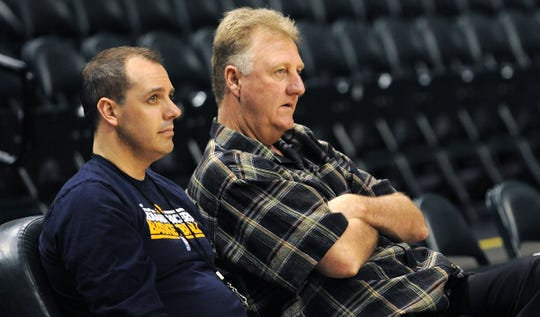 FILE -- Frank Vogel and Larry Bird in 2014.
