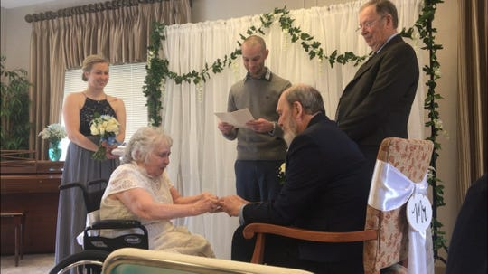 Betty Howell, 79, and Dan Fitzpatrick, 71,  tie the knot Saturday at Greenwood Meadows.