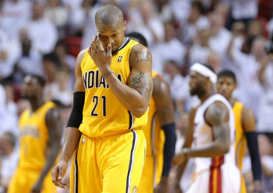 David West (21) during Game 6 of the Eastern Conference Finals between the Indiana Pacers and the Miami Heat inside American Airlines Arena, Friday, May 30, 2014, in Miami, Fla.