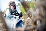 Kathleen Gibi, of Keep the Tennessee River Beautiful, talks about the groups effort to keep area rivers clean during a clean up in Oak Ridge.