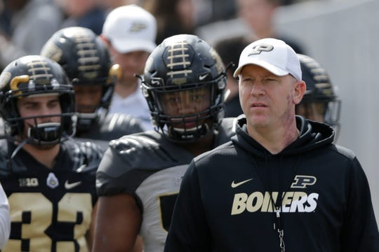 Purdue head coach Jeff Brohm pauses before taking the field before the Purdue University spring game, Saturday, April 6, 2019, at Ross-Ade Stadium in West Lafayette.
