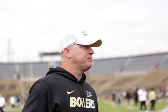 Purdue head coach Jeff Brohm talks with members of the media after the Purdue University spring game, Saturday, April 6, 2019, at Ross-Ade Stadium in West Lafayette. The defense won, 53-39, using a modified scoring system.