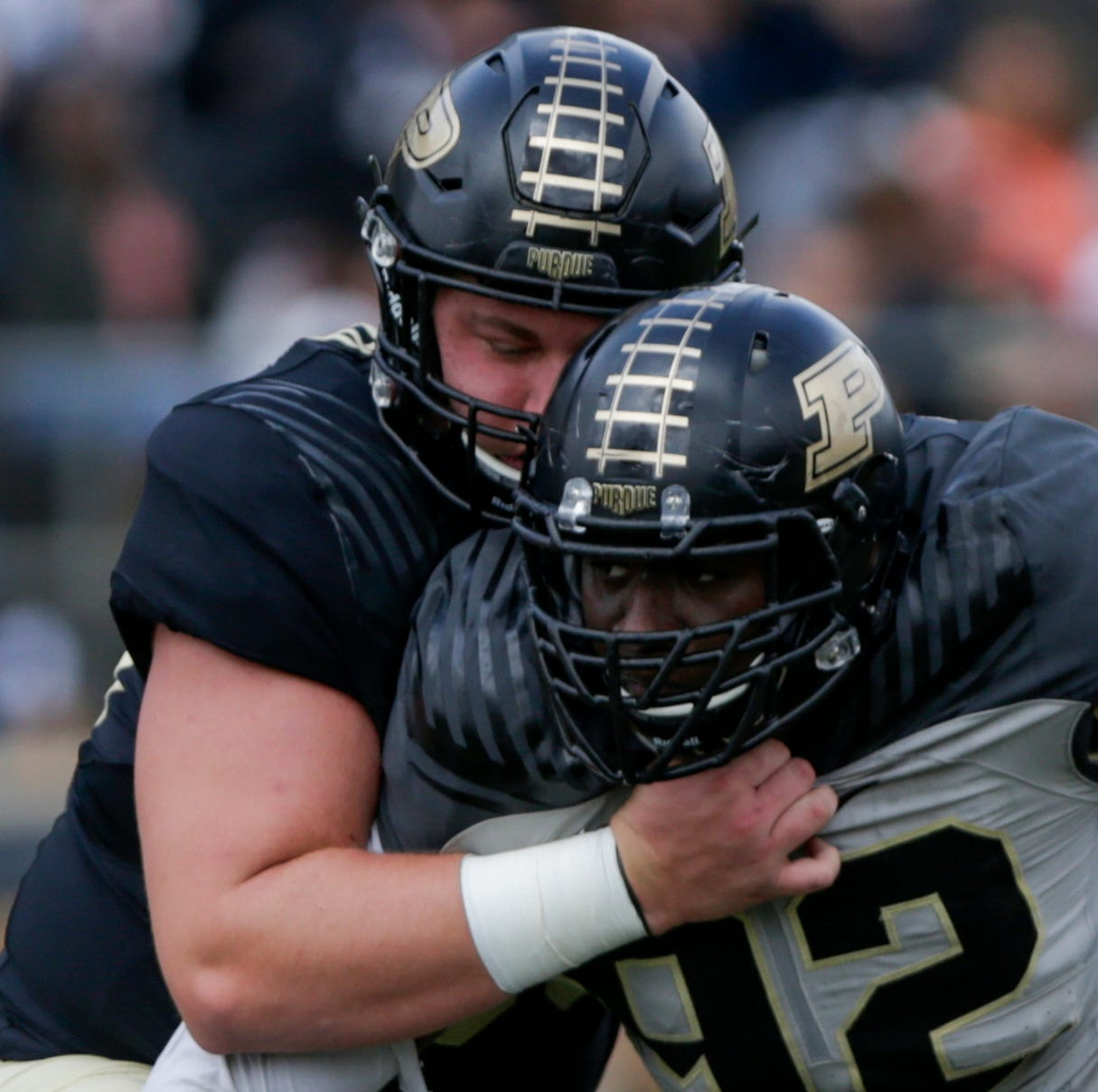 Purdue offensive lineman Viktor Beach pushes forward after frustrating spring practice