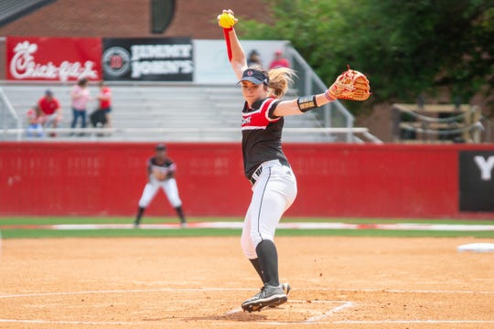 UL's Summer Ellyson pitches the ball to the batter as the Ragin' Cajuns take on the University of Texas Arlington Mavericks in a double-header at Yvette Girouard Field on Saturday, April 6, 2019.
