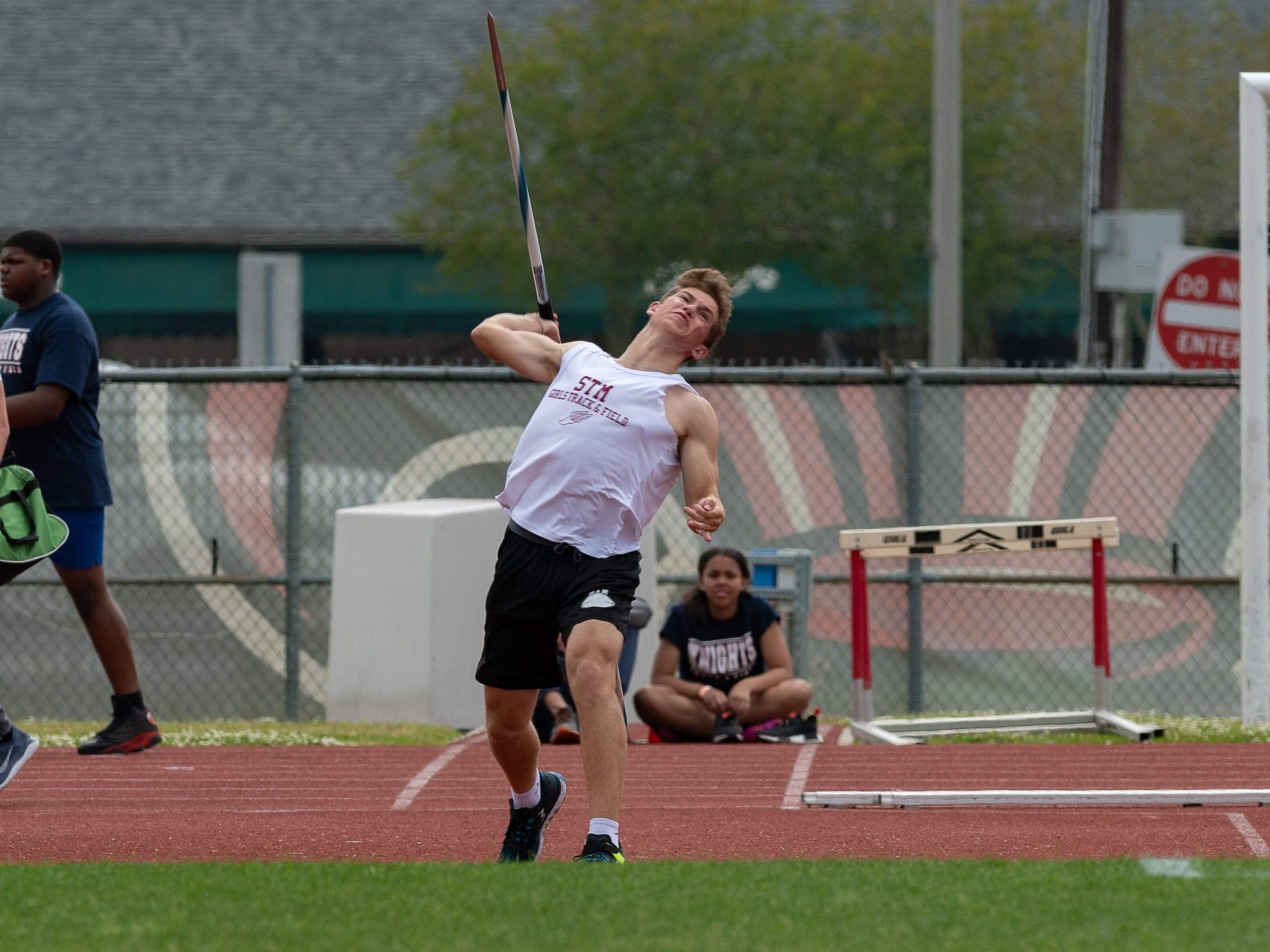 Hunter Canbre throws the javelin at The 2019 Beaver Club Relays. Friday, April 5, 2019.