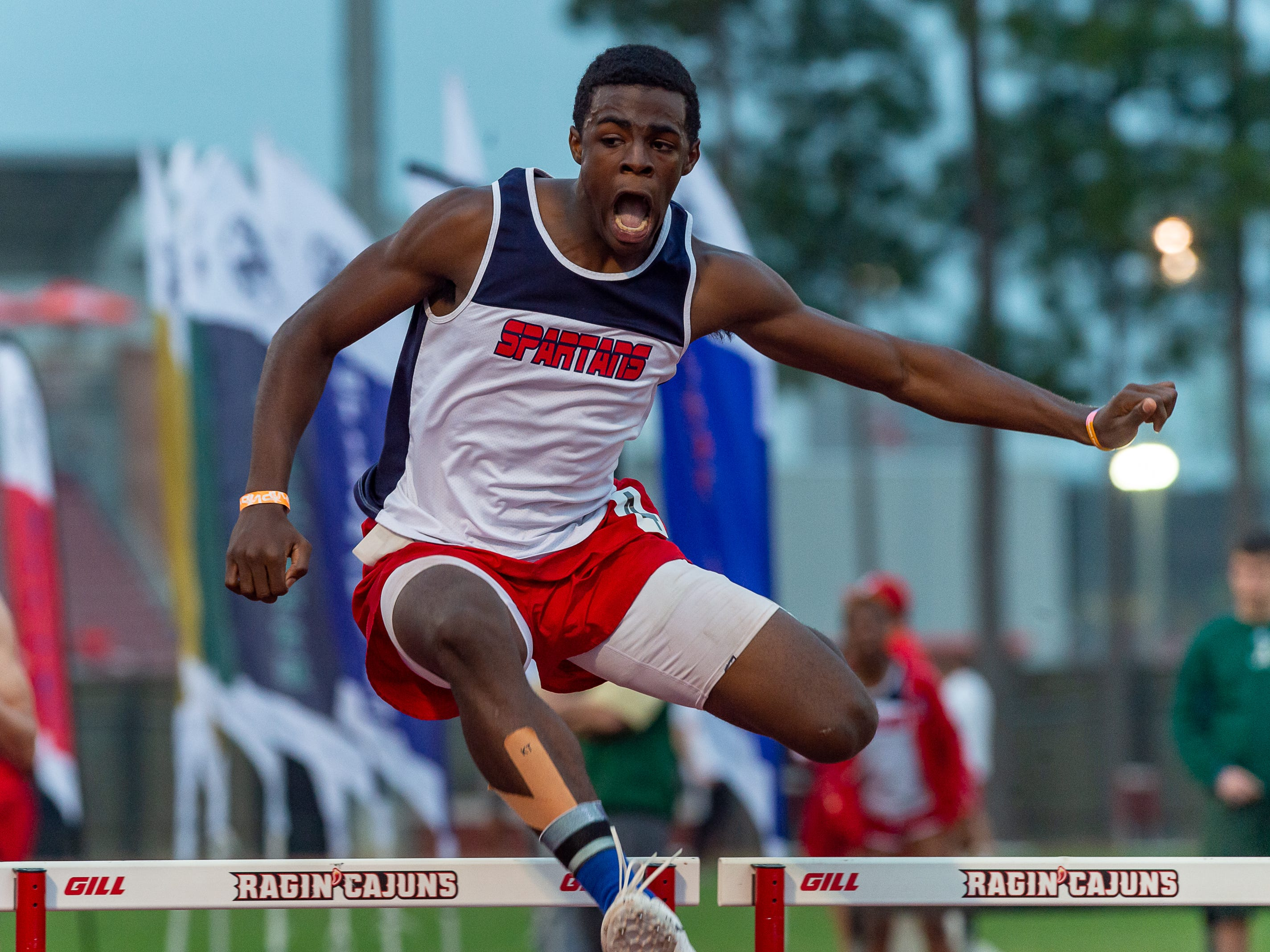 Debonaire Williams wins the 300m hurdles at The 2019 Beaver Club Relays. Friday, April 5, 2019.