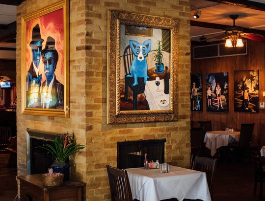 Blue Dog Cafe is a nice Southern restaurant that features the works of George Rodrigue