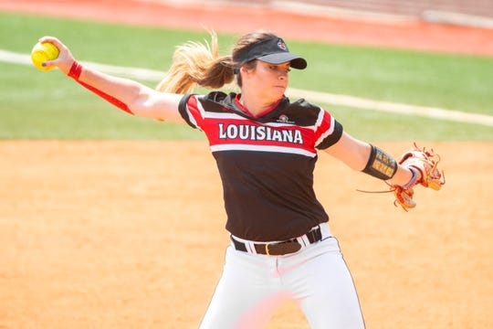 UL's pitcher Summer Ellyson winds up a throw as the Ragin' Cajuns take on the University of Texas Arlington Mavericks in a double-header at Yvette Girouard Field on Saturday, April 6, 2019.