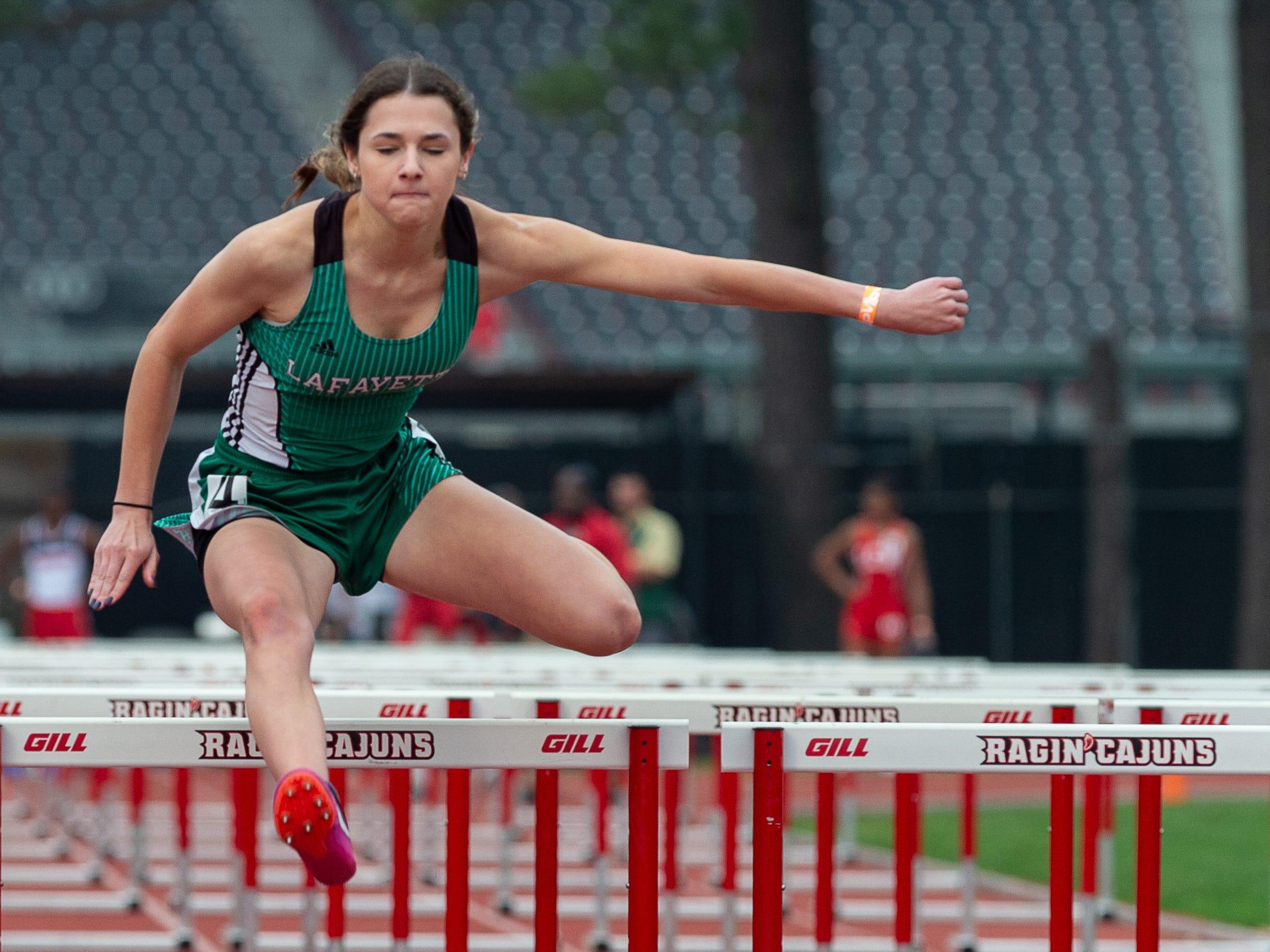 Gabrielle Gary wins the 100m hurdles at The 2019 Beaver Club Relays. Friday, April 5, 2019.