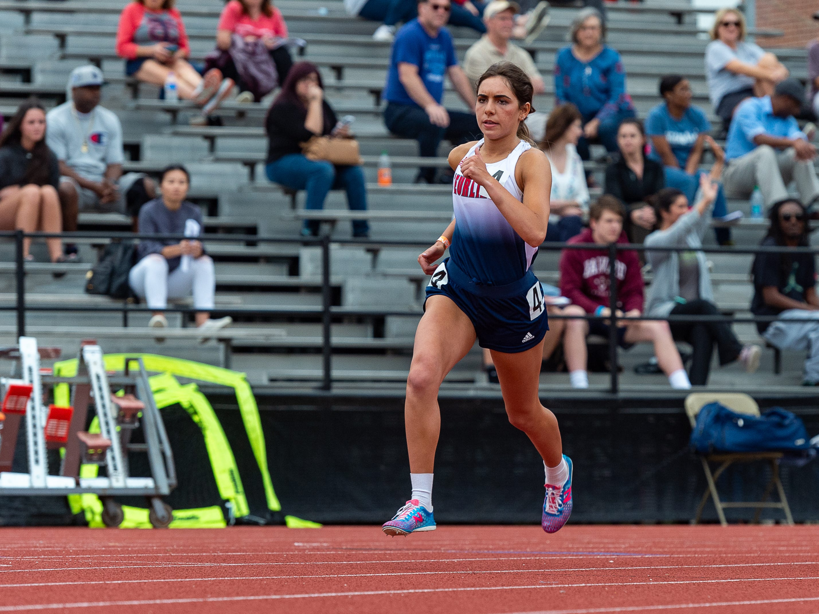 Makenzie Monlezum runs the 800m run at The 2019 Beaver Club Relays. Friday, April 5, 2019.