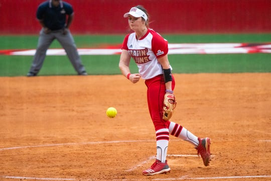 UL's Summer Ellyson throws a pitch from the circle as the Ragin' Cajuns take on the University of Texas Arlington Mavericks at Yvette Girouard Field on Friday, April 5, 2019.