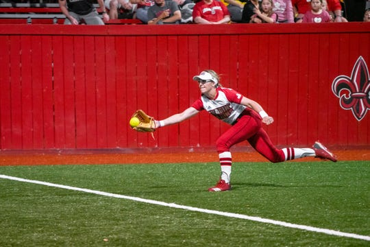 UL's Sarah Hudek makes a catch in the outfield to get the last out of the inning as the Ragin' Cajuns take on the University of Texas Arlington Mavericks at Yvette Girouard Field on Friday, April 5, 2019.