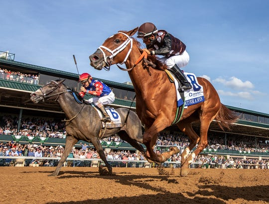 Out For A Spin, with Paco Lopez aboard, wins the Central Bank Ashland Stakes at Keeneland.April 6, 2019
