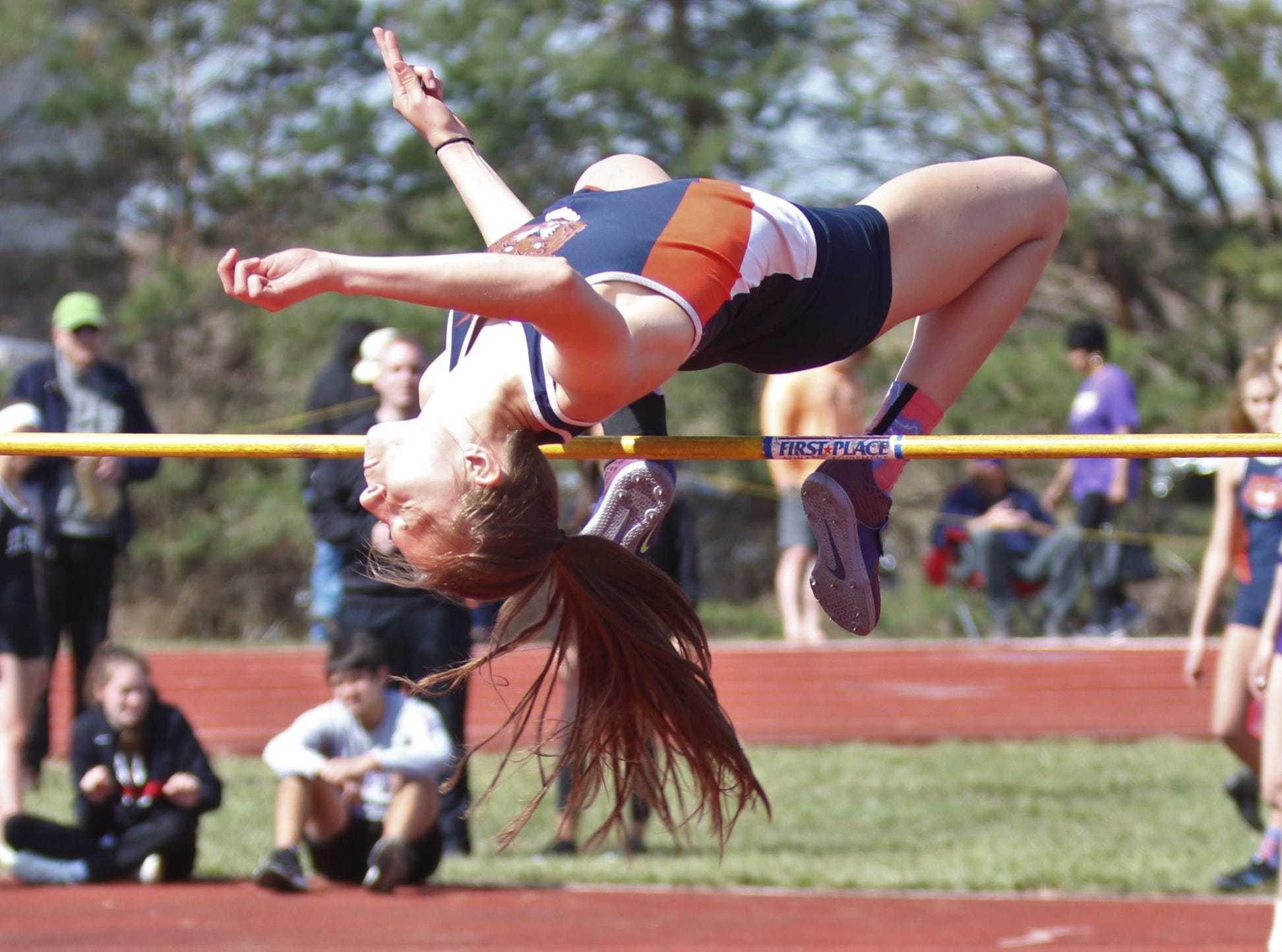 Galion's Kerrigan Myers took second place in the girls high jump during the Shelby High School Invitational on Saturday afternoon.